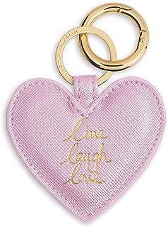 Heart Keyring - Live Love Laugh - Metallic Pink