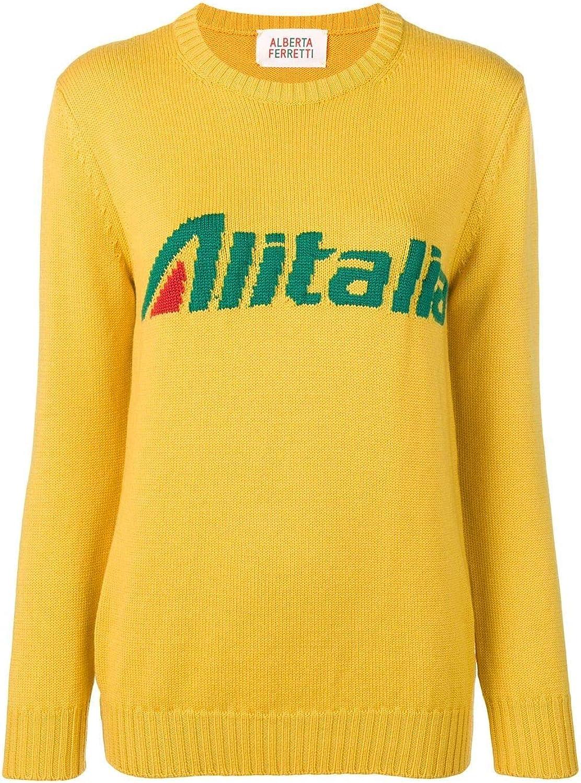 Alberta Ferretti Women's J098116131029 Yellow Wool Sweatshirt