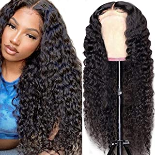 Cute Fairy Water Wave Lace Closure Human Hair Wig Wet and Wavy 4x4 Lace Front Wig 12 inch Brazilian Curly Human Hair Closu...