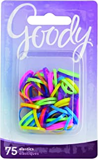 Goody Mini Latex Hair Elastics, Assorted Neon Colors, 75-count