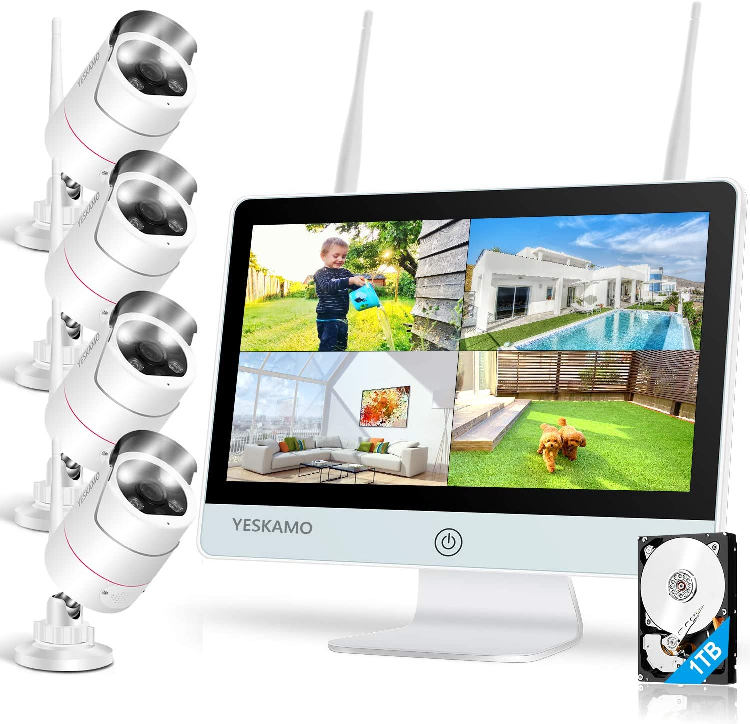 Floodlight Security Camera System with Monitor