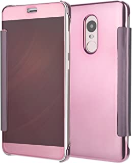 BCIT Xiaomi RedMi Note 4 case - Luxury Elegant Glitter Smart Flip Ultra Slim View Electroplated Mirror Hard Clear Transparent Case Cover for Xiaomi RedMi Note 4 - Rose Gold