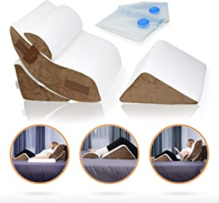 Lunix LX5 4pcs Orthopedic Bed Wedge Pillow Set, Post Surgery Memory Foam for Back, Neck and Leg Pain Relief...