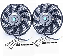 Upgr8 2 Pack Universal High Performance 12V Slim Electric Cooling Radiator Fan With Fan Mounting Kit (9