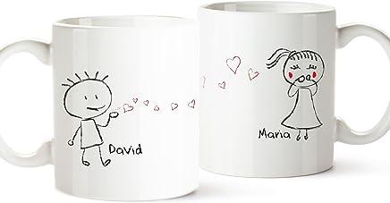 Preisvergleich für 2er Tassen-Set - Liebespaar - Personalisiert mit [Namen] - Zwei weiße Kaffetassen im Set - niedliche Geschenkidee für den Partner oder die Partnerin - Liebesgeschenke zum Valentinstag oder Jahrestag