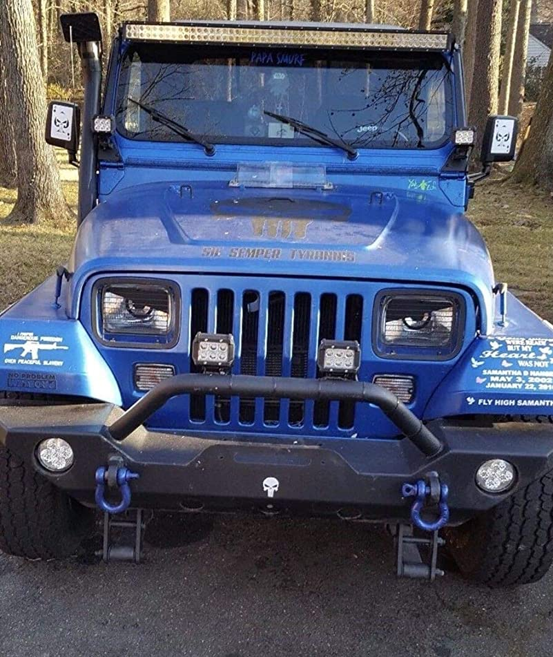 Jeep Wrangler YJ Angry Eyes Decal Sticker Fits 5X7 6094 Headlight