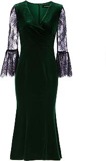 Ever Pretty レディース ミセス ベルベット 深いグリーン 上品 二次会 フォーマル ブライダル 結婚式 パーティー 発表会 ロングドレス レース袖 ロングドレス ワンピース 07301