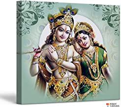 FoxyCanvas Lord Krishna and Radha Divine Lovers Radha Krishna Giclee Canvas Print Stretched and Framed Wall Art for Home and Office Decorations 16x16 inch