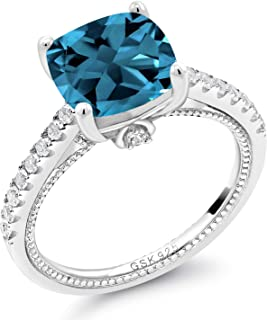 5.47 Ct Cushion London Blue Topaz White Created Sapphire 925 Silver Ring