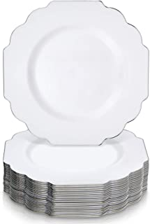 "Party Disposable 20 pc Dinnerware Set Dinne Plates (10.5"") White with Silver Edge"