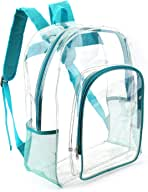Heavy Duty Clear Backpacks Transparent See Through PVC Plastic Backpack for School,Work,Travel (Turquoise/Teal)