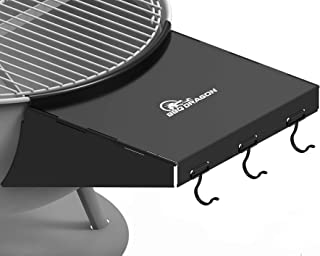 "Grill Table Fits 22"" Weber Charcoal Grills, Weber Grill Table, Weber Kettle Grill Accessories, BBQ Dragon Steel BBQ Table Folds to Store Inside Barbecue Grill"