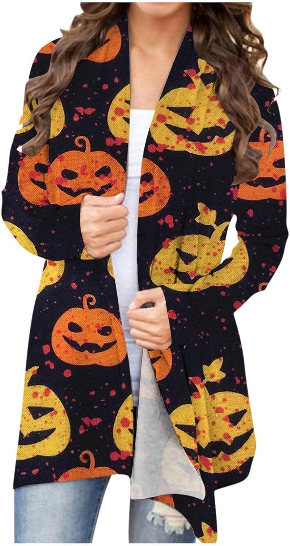 Sweaters for Women, Womens Halloween Long Sleeve Cardigan Open Front Funny Pumpkin Black Cat Ghost Lightweight Coat