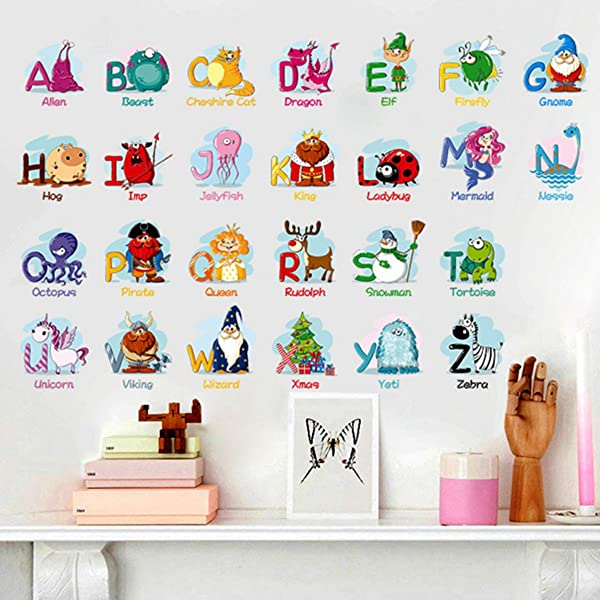 Animal Alphabet Wall Decals Baby And Toddler Wall Decor Fun ABC Wall Stickers Decals Peel And Stick For Kids Nursery Bedroom Living Room