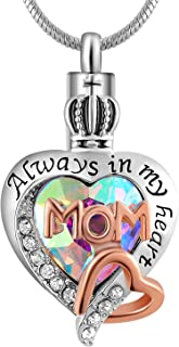 Womens and Girls Memorial Dad/Mom Glass Crystal Ash Urn Cremation Pendant,Always in My Heart Necklace