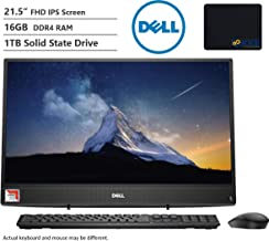 """Dell Inspiron All-in-One AIO Desktop Computer 21.5"""" FHD Display AMD A9-9425, 16GB RAM, 1TB SSD, HDMI, Multi-Card Reader, Wireless-AC, Bluetooth, KKE Mousepad, Wired Keyboard&Mouse, Win10"""
