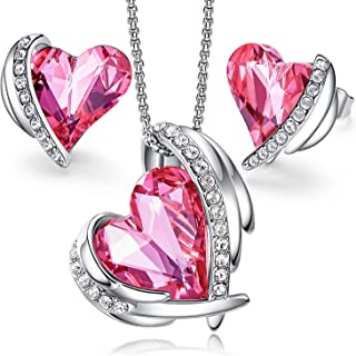 Love Heart Necklaces and Earrings Jewelry Set for Women...
