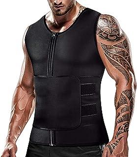 Mens Sweat Sauna Vest for Waist Trainer Zipper Neoprene Tank Top, Adjustable Sauna Workout Zipper Suit