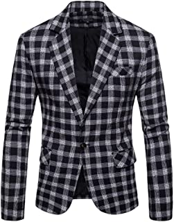 Blazer Mens Casual Plaid Business Wedding Suit Lapel Slim Fit Outwear Camouflage Jacket Blazer Coat