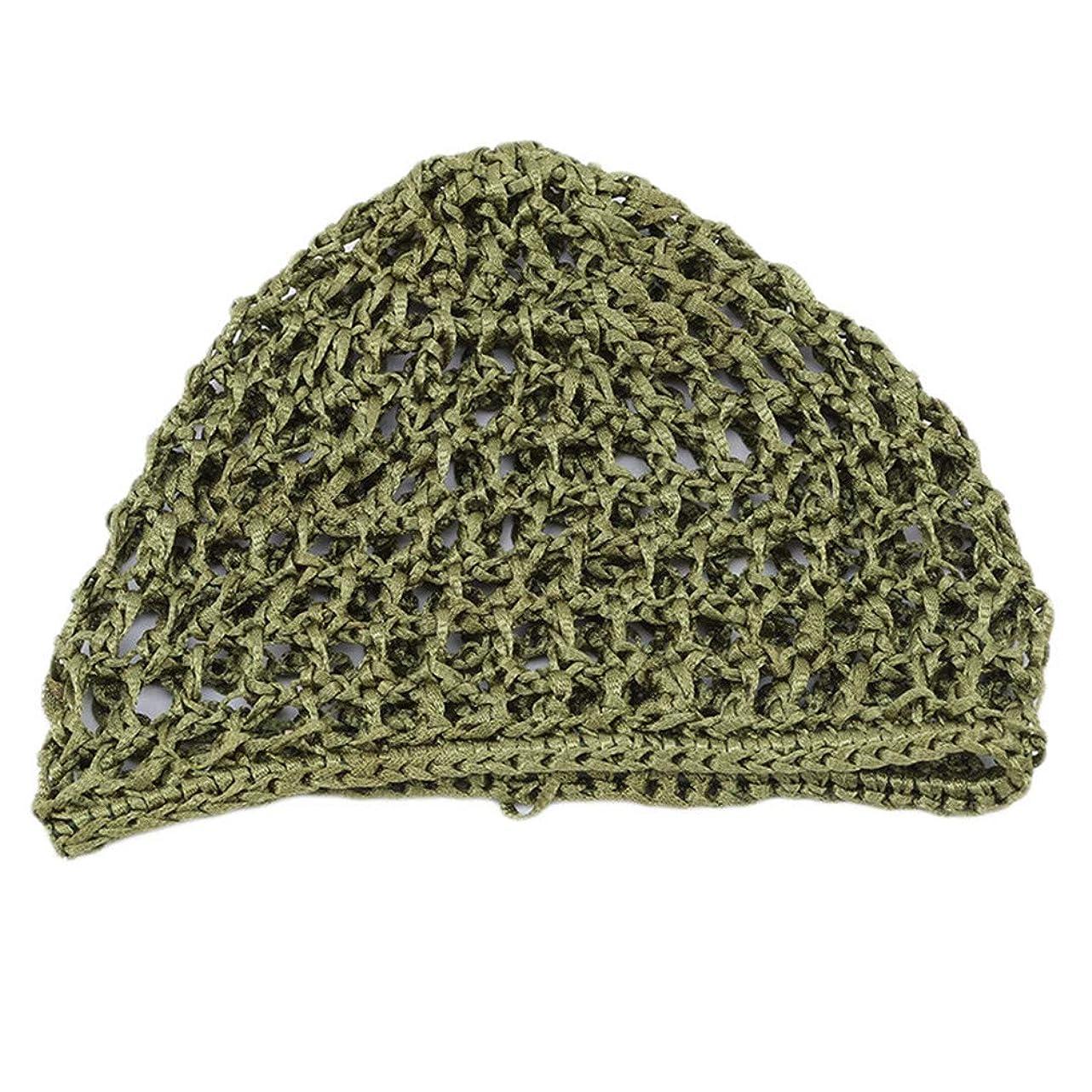 瞳かなり発行するLJSLYJ 女性手かぎ針編みの髪の編まれた髪のネットアクセサリー弾性髪のネットキャップスリーピングキャップ、グリーン