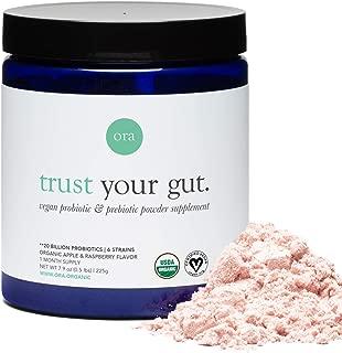 Ora Organic Probiotic and Prebiotic Powder Supplement, 20 Billion Organic Probiotics, 6 Strains - Best Vegan Prebiotic Powder, Gluten-Free, Non-GMO, Probiotics for Women, Men & Kids (Full Size)