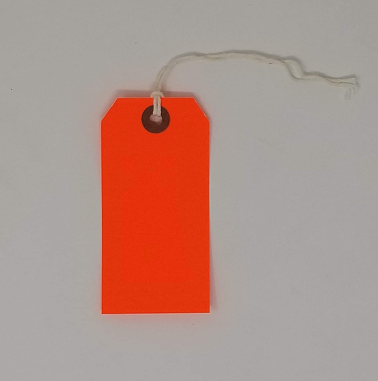 K-Kraft Gift Tags with String Options (#1 = 2.75 x 1.3 inches, PRE-Strung NEON Orange)