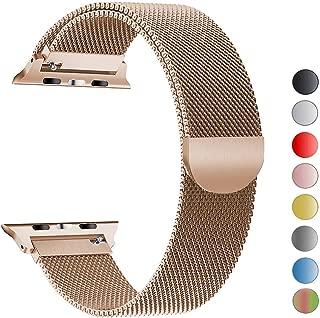 Robotekno Apple Watch Kordon 38mm 40mm, Metal Kayış Milano Kordon 1 | 2 | 3 | 4 | 5 (38mm/40mm, Altın)