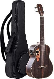 Caramel Ebony wood Baritone Ukulele 30 inch Professional Wooden LCD color display Electric ukelele Kit Hawaiian Beginner Guitar ukalalee Starter Pack Bundle Gig bag, Strap,Strings, Wall mount Set