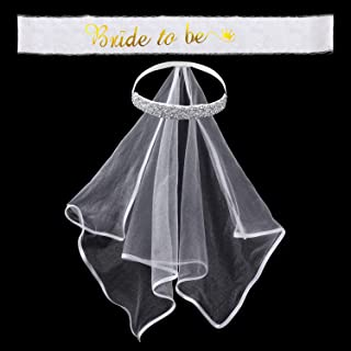 Boho Crown Veil Bridal Shower Veil Future Mrs. Kit, Party Veil Bachelorette Party Decorations Sash and Bridal Ribbon Bride to Be Sash for Bride