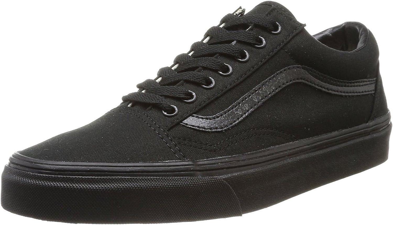 Vans Old Skool Black Canvas Leather Unisex Trainers shoes