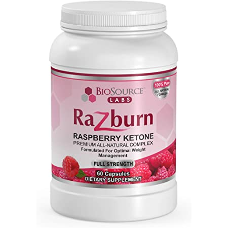 BioSource Labs Razburn – Premium, Extra Potent 100% Pure Raspberry Ketones – All-Natural Pills with Caffeine & Green Tea Extract for Men & Women (60 Vegetarian Capsules)