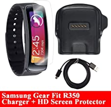 Gear Fit Charger With HD Screen Protector, [R350], AnoKe Replacement Portable Charging Docking Station Cradle Dock + Micro USB Data Charging Cable For Samsung Galaxy Fit R350 Dock+SP