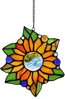 Alivagar Stained Glass Window Hangings Suncatchers Sunflower, 6 1/2