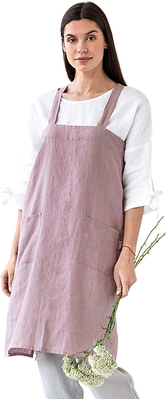 MagicLinen 100% Latest item Linen Apron - Gardening Regular store Cooking Grilling Pain