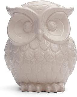 Milltown Merchants&Trade; Owl Figurine - Ceramic Owl - Owl Decor - White Ceramic Owl Statue (Large - 7.5
