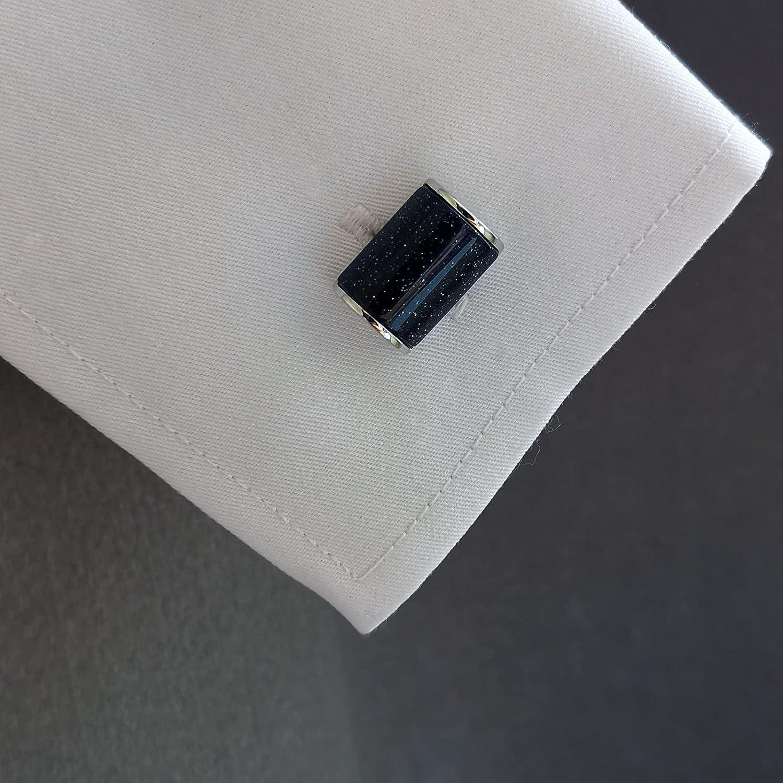 GZBSTDQ 2pcs Metal Curved Cufflinks, Starry Blue Sandstone Cufflinks, Shirt Cufflinks, Suit Cufflinks (Color : B2)
