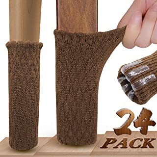 Furniture Socks, Ravmix 24 PCS Knitted Elastic Hardwood Floor Protectors Chair Leg Socks Covers with Non-Skid Gel Strips for Square Round Odd Feet with Circumference from 2-3/4