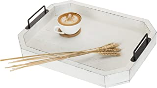 MyGift 16-Inch Vintage White Wood Serving Tray with Black Metal Handles