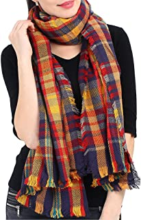 Blanket Scarf Infinity Shawl Set - Women Oversized Plaid Scarf Tartan Tunic Cardigan