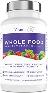 VitaminIQ Whole Food Multivitamin for Men (120 Vegetarian Capsules) Men's Multi Vitamin and Mineral Supplement with Calciu...