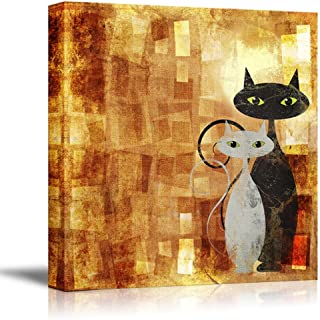 wall26 - Canvas Prints Wall Art - Black and White Cat on Orange Grunge Canvas (Painting, Abstract, Cat) | Modern Wall Art ...