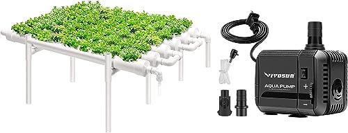high quality VIVOSUN Hydroponic Grow sale Kit, 1 Layer 54 Plant Sites wholesale 6 PVC Pipes & 130GPH Submersible Pump (500L/H, 6W), Ultra Quiet Water Pump sale