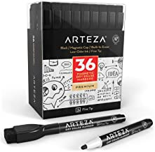 ARTEZA Magnetic Dry Erase Markers with Eraser, Pack of 36 (with Fine Tip), Black Color with Low-Odor Ink, Whiteboard Pens is perfect for School, Office, or Home