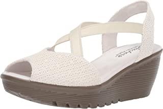 Skechers Women's Parallel-Peep Toe Gore Slingback Wedge Sandal