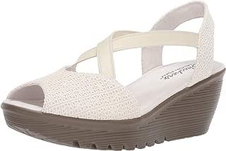 Women's Parallel-Peep Toe Gore Slingback Wedge Sandal