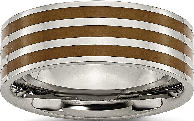 Jewelry By Sweet Pea Titanium Trust Brown Flat Polished cheap 8mm Enamel Ban