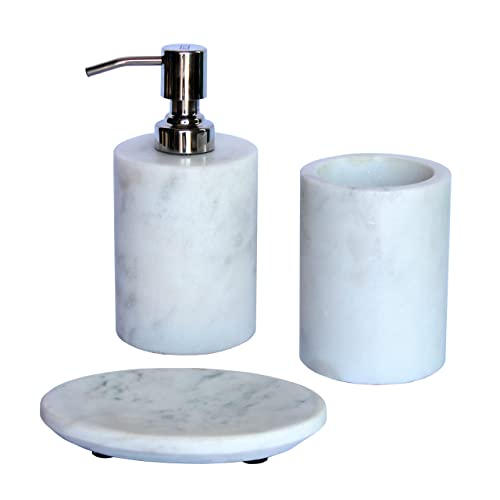 KLEO - Bathroom Accessory Set White Marble Stone - Bath Accessories Set of 3 Includes Soap Dispenser, Toothbrush Holder, Soap Dish
