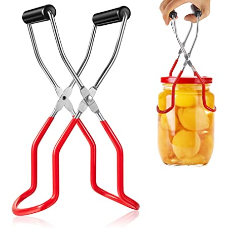 Long Handle Canning Tongs Stainless Steel Lifter Cans Gripper Clamp Canned Clip for Kitchen Wide-Mouth and Regular Jars Safe and Secure Grip Canning Jar Lifter Tongs with Rubber Grips Red