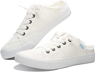 Women Canvas Mules Memory Foam Clipper Fashion Sneakers Comfortable Slip-On Mule Backless Shoe