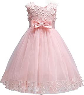 Baby Girl Flower Lace Hemline Wedding Party Ball Gown Dress(2-10 Years Old)